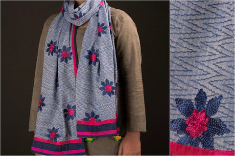 Embroidered Cotton Indigo Stole with Tassels