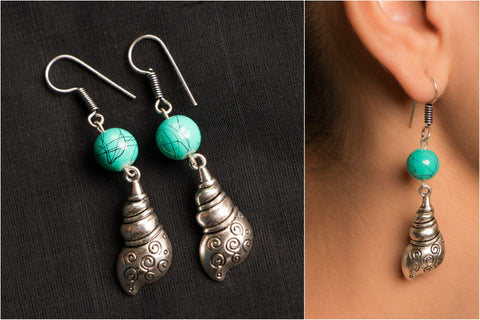 Handmade German Silver Bead Work Bhavika Earring