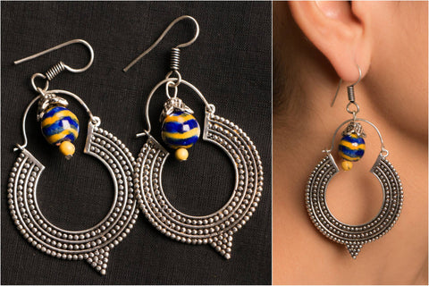 Handmade German Silver Bead Work Rachana Earring