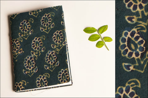 Handmade Block Print Fabric Cover Slim Diary 5x3.5
