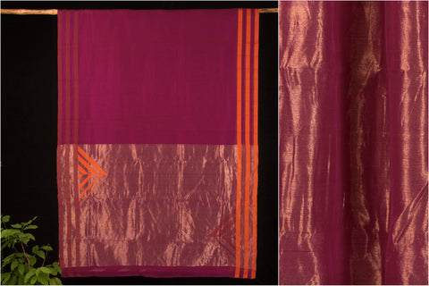 Handloom Chanderi saree With Gold Zari Border