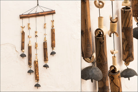 Handcarved Bamboo Wind Chime - 5 Bell