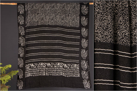 Kala Syahi Block Print Cotton Munga Kota Saree