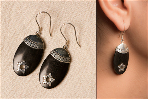 Wood Engraved Sterling Silver Earring