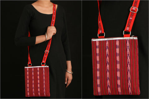 Pochampally Ikat Cotton Faux Leather Trim Sling Bag