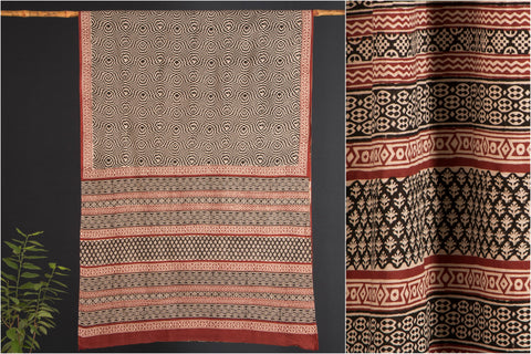 Bagru Dabu Block Printed Cotton Mul Saree