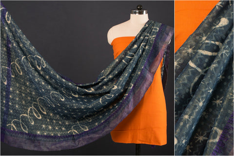 Indigo South Cotton Dupatta with Bodoweaves Cotton Kurta Material