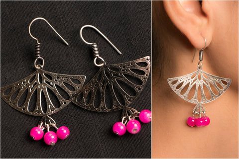 Handmade German Silver Bead Work Hiranya Earring