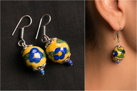 Handmade German Silver Bead Work Richa Earring