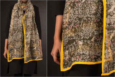 Maheshwari Silk Art Print Stole with Zari by Sutanu