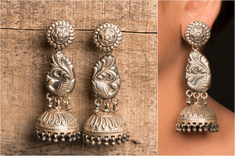 Kirti Long Sterling Silver Jhumki Earring