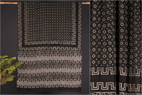 Kala Syahi Block Print Kota Doria Cotton Saree