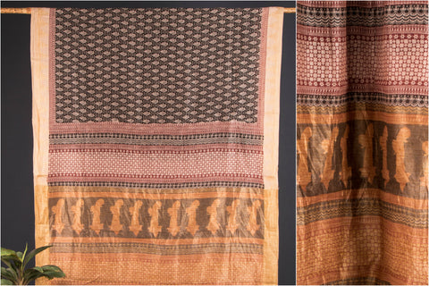 Chanderi Silk Bagh Print Saree with Blouse
