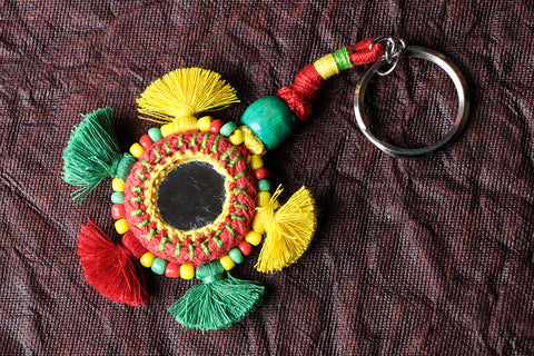 Handmade Patwa Mirror & Threadwork Keychain by Kailash Patwa
