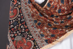 Handpainted Srikalahasti Kalamkari Pen Work Chanderi Silk Dupatta with Zari Border