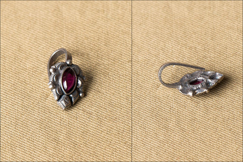 Silver Stone Encrusted Nose Clip-on
