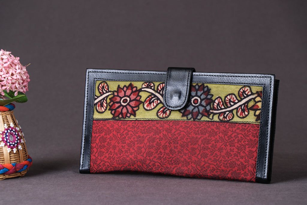 Handpainted Kalamkari Natural Dyed Jacquard Silk Passport Cover