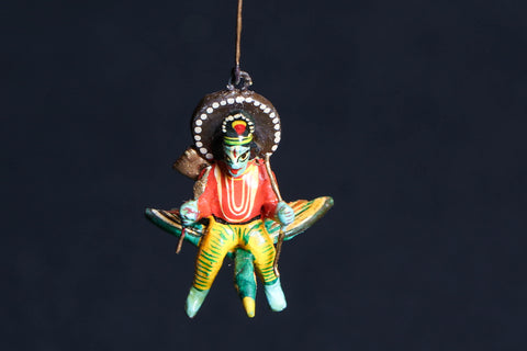 Handpainted Wooden - Flying God Kartikeya