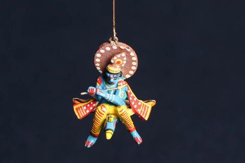 Handpainted Wooden - Flying God Krishna