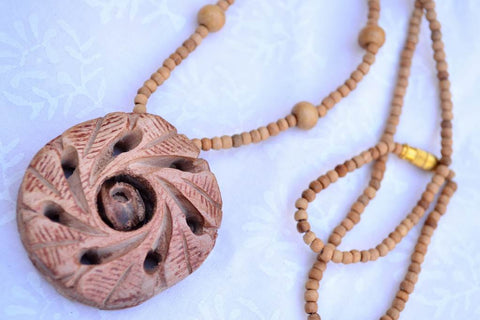 Handcarved  Sandal Wood Necklace