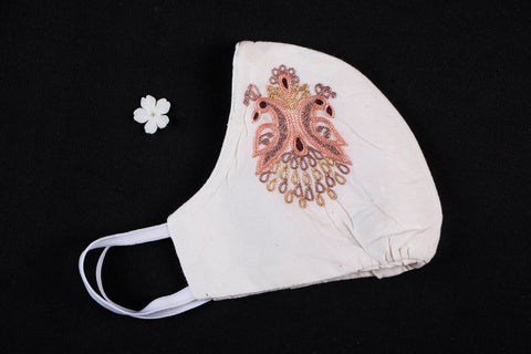 Chikankari Hand Embroidered Snug Fit Face Mask With Adjustable Noseclip