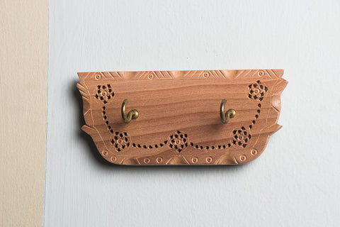 Hand Carved Loquat Wood Jali Key Holder (2 peg)