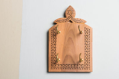 Hand Carved Loquat Wood Jali Key Holder (4 peg)