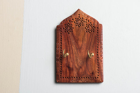 Hand Carved Red Wood Jali Key Holder (2 peg)