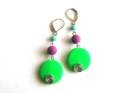 Parrot Green Beaded Earring