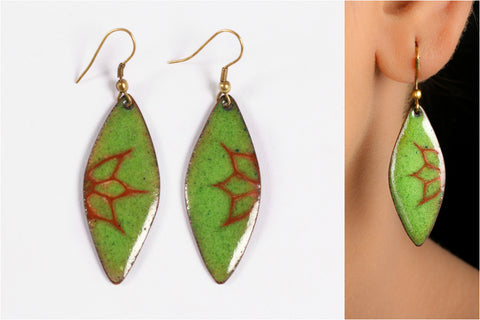 Hand Cut Meenakari Enamelled Earring by Renu