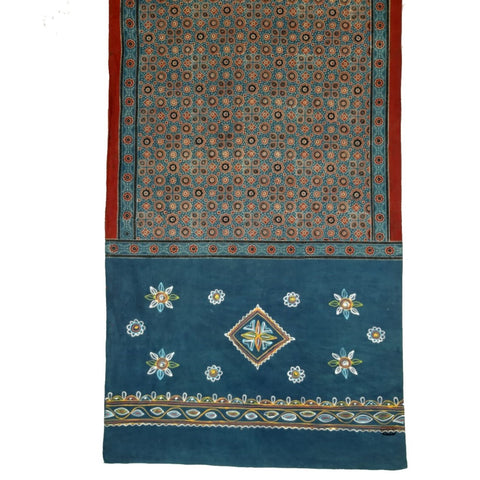 Traditional Rogan Art Painted & Block Printed Stole by Sumar Khatri