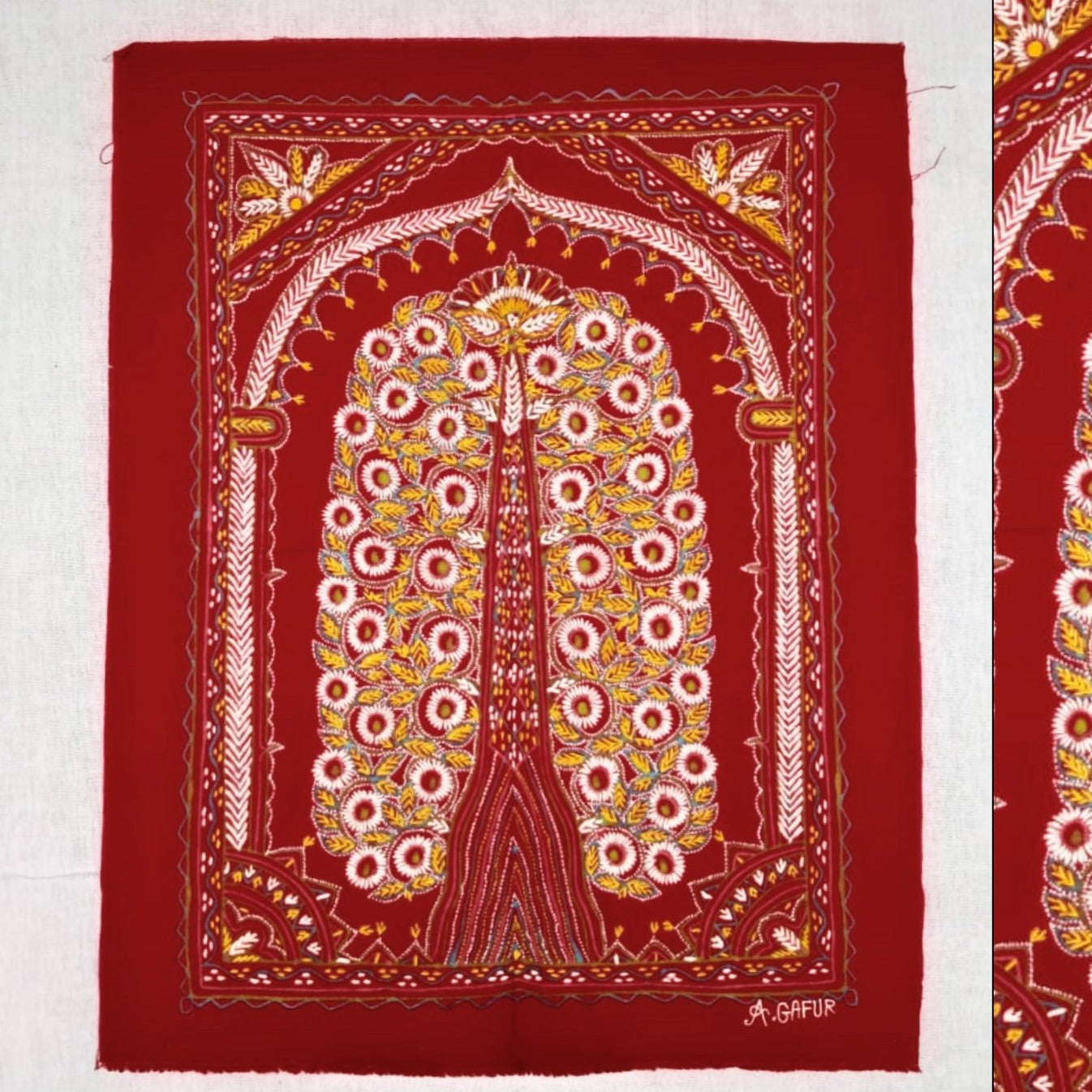 The Tree of Life Traditional Rogan Art Painted Wall Hanging by Sumar Khatri