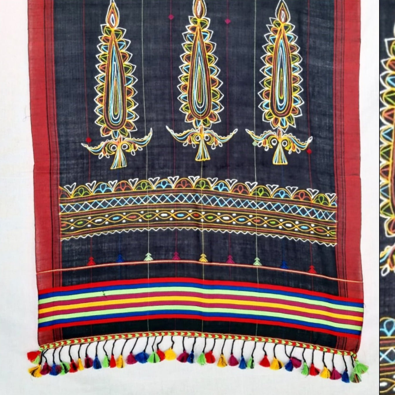 Traditional Rogan Art Painted Handloom Stole by Sumar Khatri