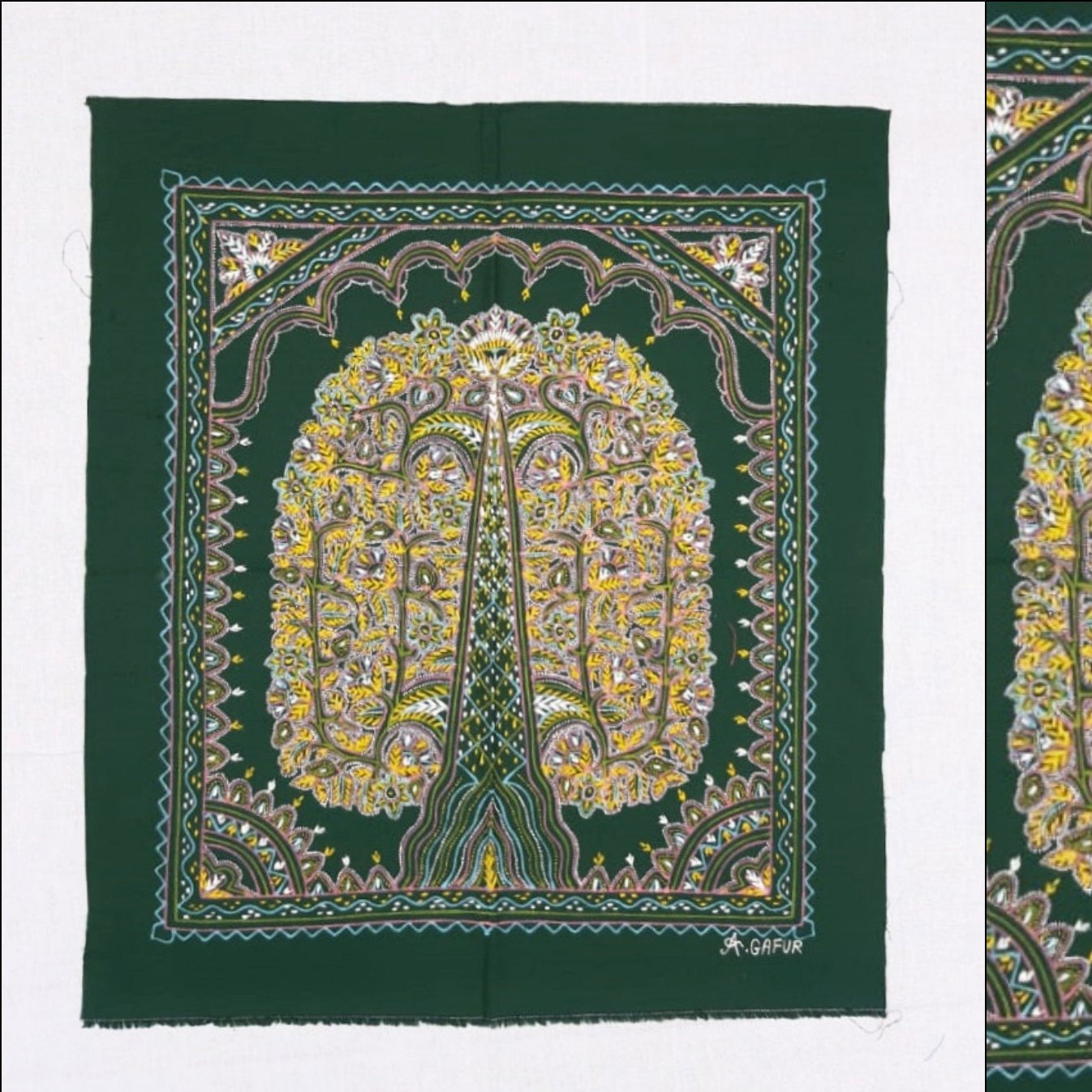 Tree of Peacock Traditional Rogan Art Painted Wall Hanging by Sumar Khatri