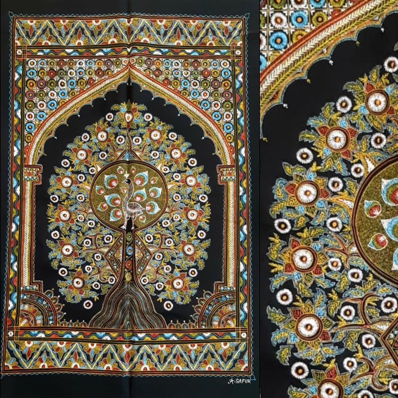Tree with Peacock Traditional Rogan Art Painted Wall Hanging by Sumar Khatri