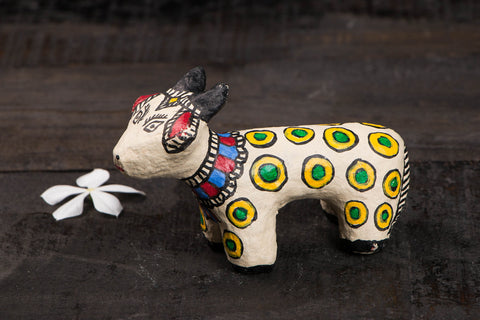 Madhubani Handpainted Paper Mache Toy - Cow