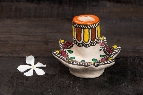 Madhubani Handpainted Paper Mache Toy - Candle Stand