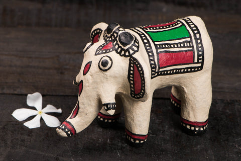 Madhubani Handpainted Paper Mache Toy - Elephant