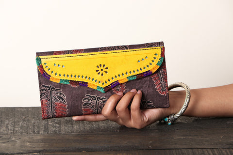 Handcrafted Kutch Leather Mashru Silk Clutch Wallet