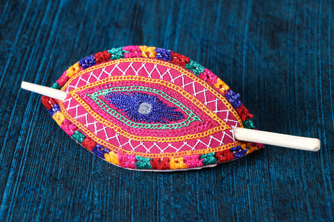 Kutchi Embroidery Mirror Work Leather Hair Pin with Wood Stick