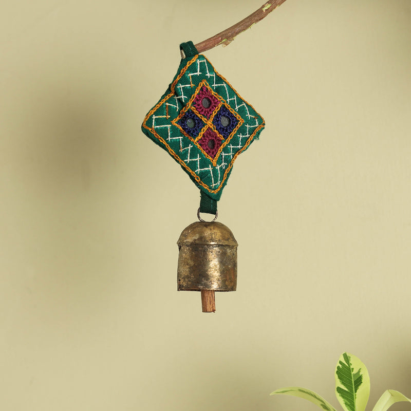 Kutch Embroidery Patch Copper Coated Bell Keychain
