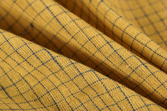 Organic Kala Cotton Pure Handloom Yellow/Blue Small Checks Fabric