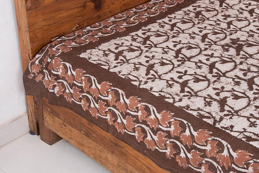Block Art Prints Natural Dyed Cotton Single Bedcover by Bindaas Unlimited (82 x 62 inches)