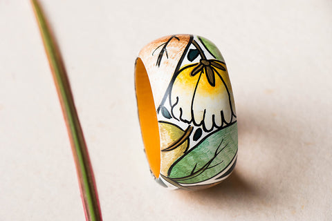 Kerala Mural Hand Painted Wooden Bangle by Sujith