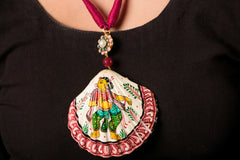 Patachitra Handpainted Sea Shell Necklace - Gopiya