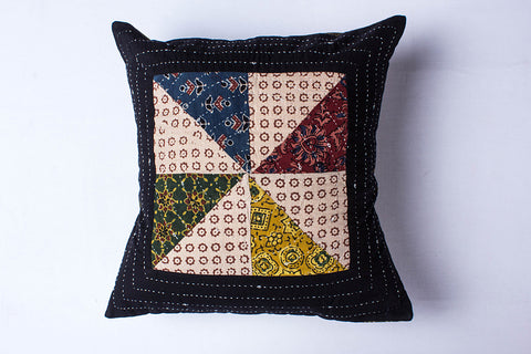 Kutch Tagai Embroidered Ajrakh Cotton Cushion Cover (16in x 16in)