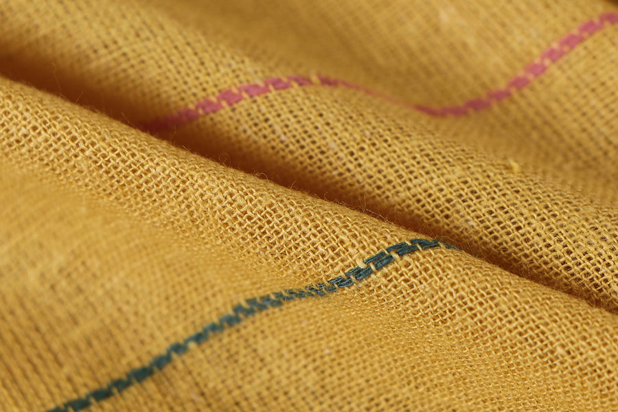 Organic Kala Cotton Pure Handloom Yellow Line Weft Fabric