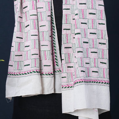 Bengal Kantha Embroidered Pure Cotton Handloom Stole