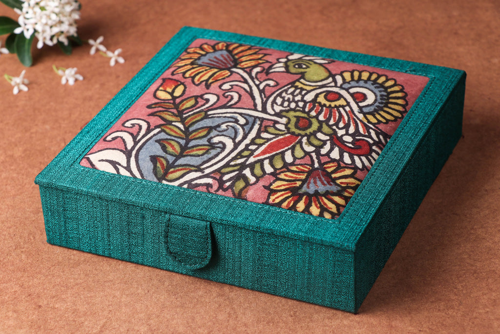 Jewelry Box - Handpainted Kalamkari Natural Dyed Ghicha Silk