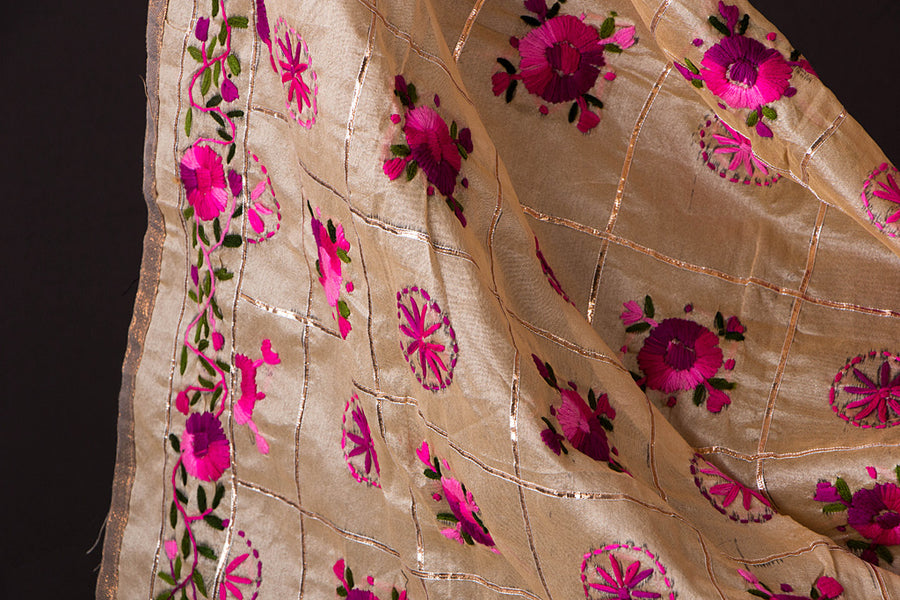 Phulkari Embroidered Silk Cotton 3pc Suit Material